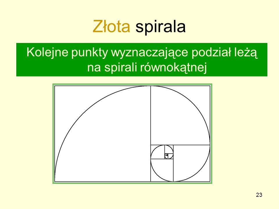 23 Złota spirala Kolejne punkty wyznaczające podział leżą na spirali równokątnej