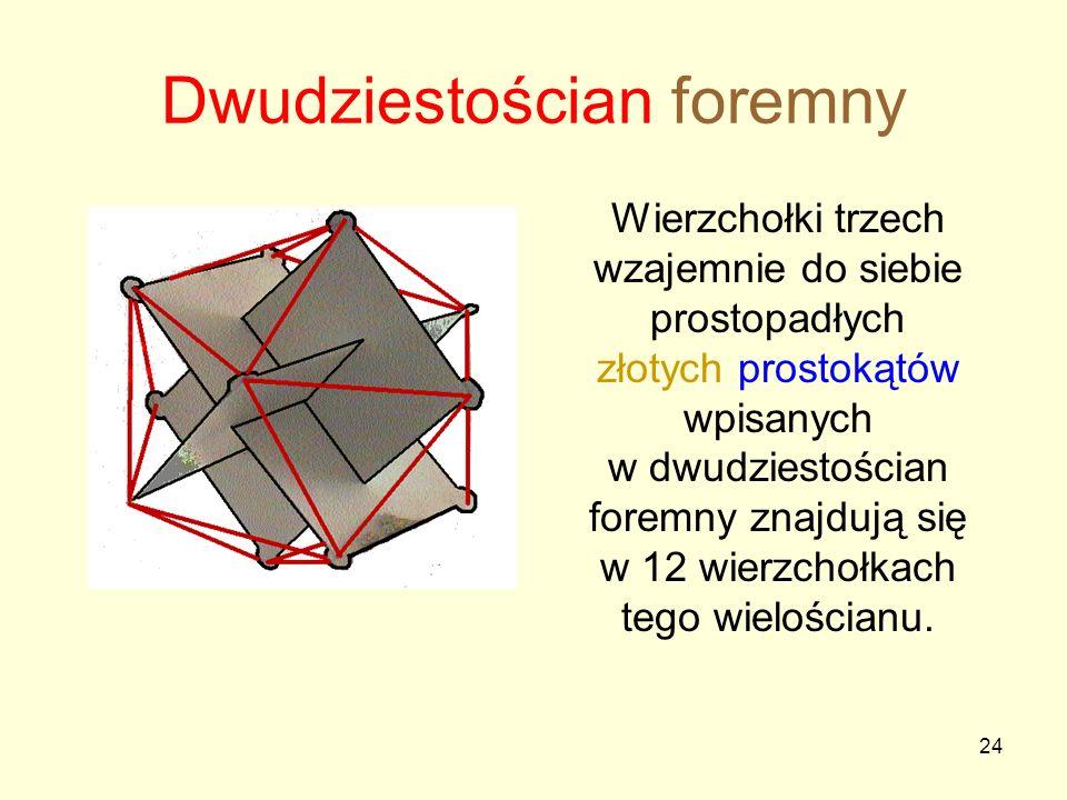 24 Dwudziestościan foremny Wierzchołki trzech wzajemnie do siebie prostopadłych złotych prostokątów wpisanych w dwudziestościan foremny znajdują się w