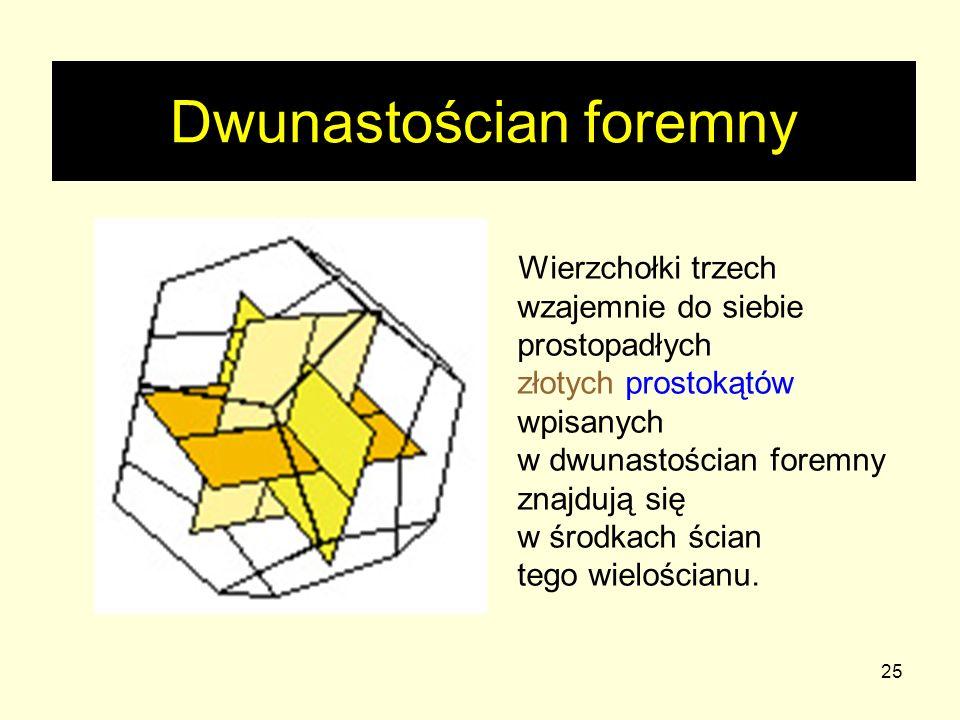 25 Dwunastościan foremny Wierzchołki trzech wzajemnie do siebie prostopadłych złotych prostokątów wpisanych w dwunastościan foremny znajdują się w śro