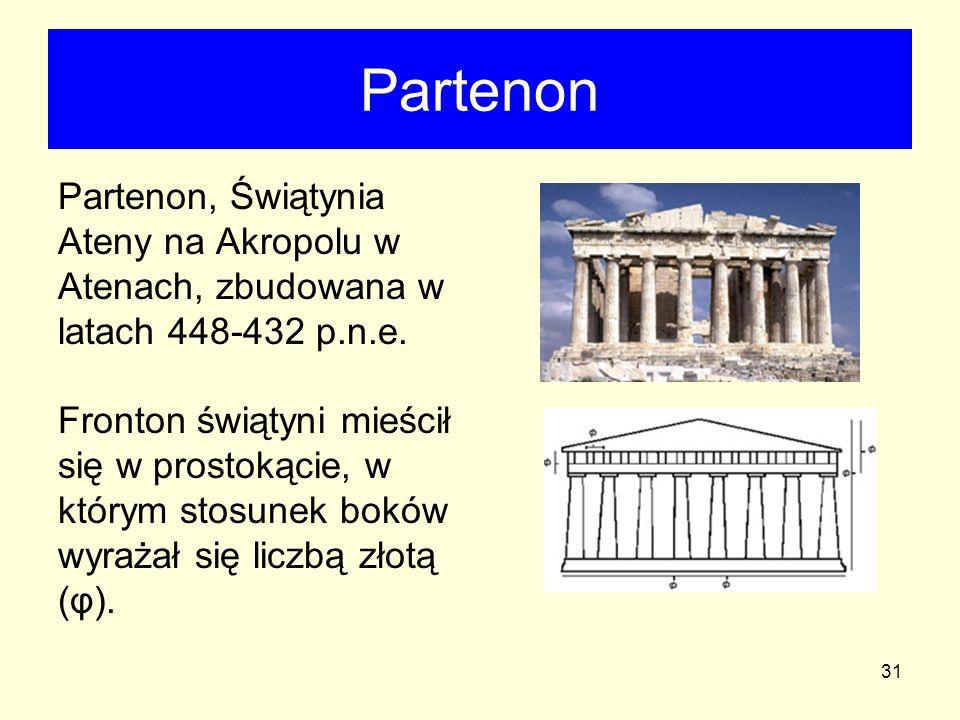 31 Partenon Partenon, Świątynia Ateny na Akropolu w Atenach, zbudowana w latach 448-432 p.n.e. Fronton świątyni mieścił się w prostokącie, w którym st