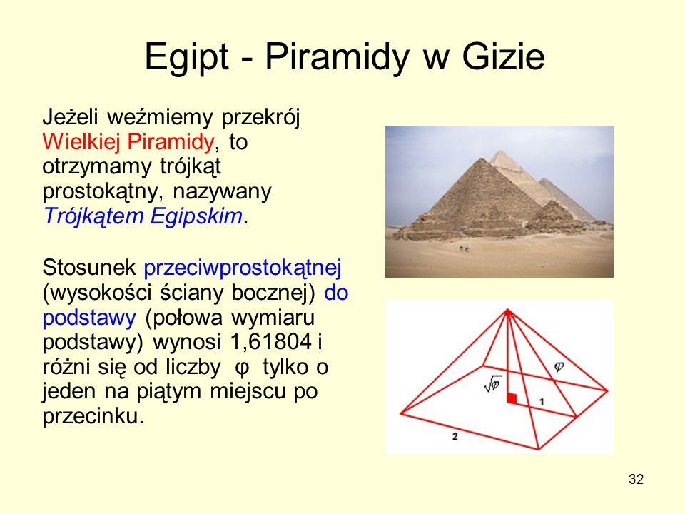 32 Jeżeli weźmiemy przekrój Wielkiej Piramidy, to otrzymamy trójkąt prostokątny, nazywany Trójkątem Egipskim. Stosunek przeciwprostokątnej (wysokości