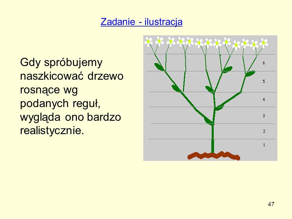 47 Gdy spróbujemy naszkicować drzewo rosnące wg podanych reguł, wygląda ono bardzo realistycznie. Zadanie - ilustracja