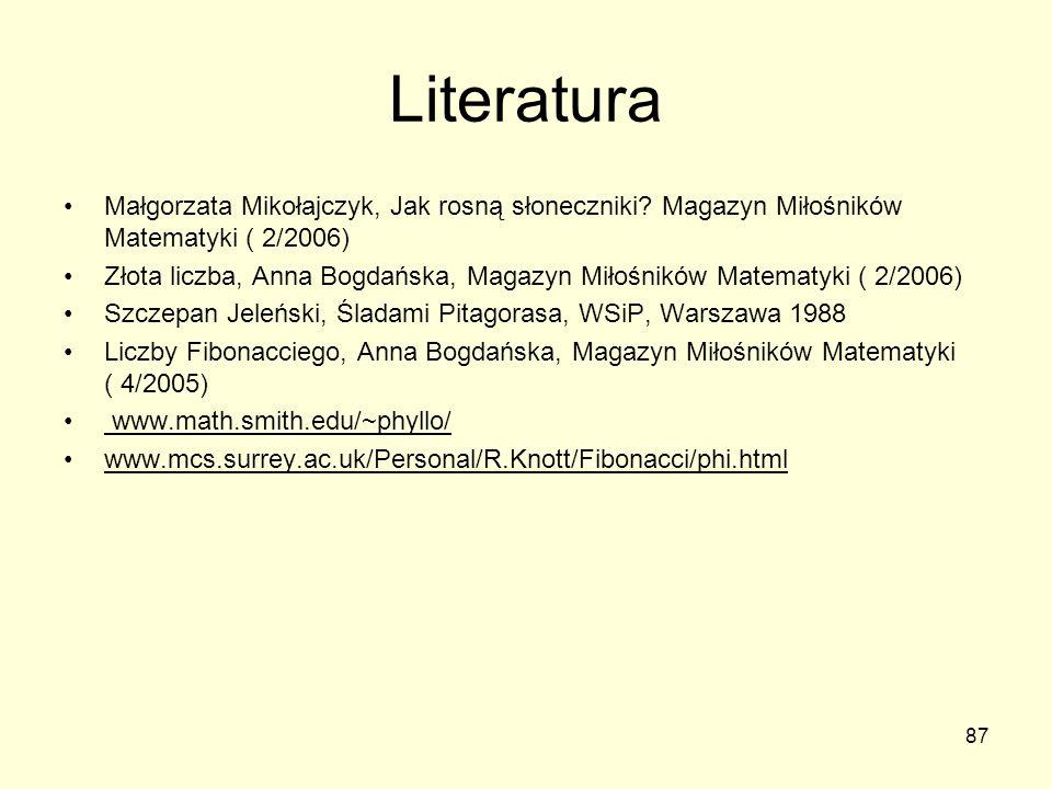 87 Literatura Małgorzata Mikołajczyk, Jak rosną słoneczniki? Magazyn Miłośników Matematyki ( 2/2006) Złota liczba, Anna Bogdańska, Magazyn Miłośników