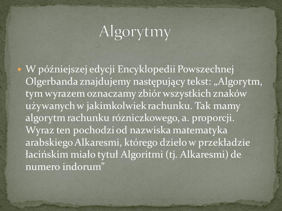 W encyklopedii Gutenberga czytamy: Algorytm oznacza działania matematyczne ; pochodzi od arabskiego imienia Alchwarzimi.