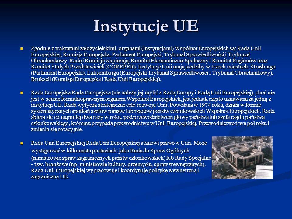 Instytucje UE Zgodnie z traktatami założycielskimi, organami (instytucjami) Wspólnot Europejskich są: Rada Unii Europejskiej, Komisja Europejska, Parl