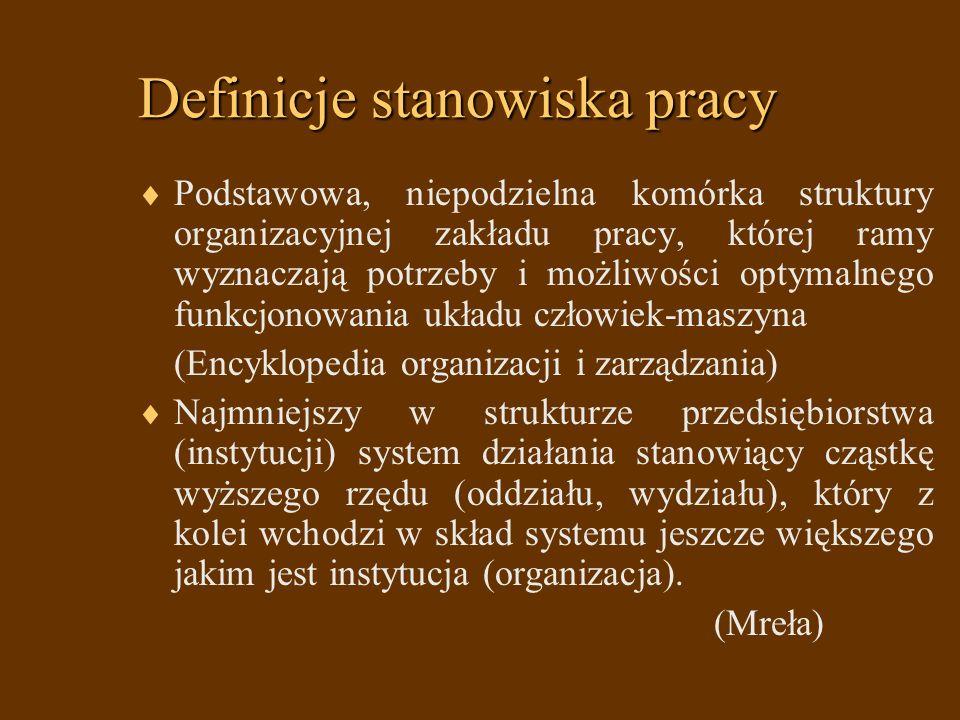 Definicje stanowiska pracy Podstawowa, niepodzielna komórka struktury organizacyjnej zakładu pracy, której ramy wyznaczają potrzeby i możliwości optym