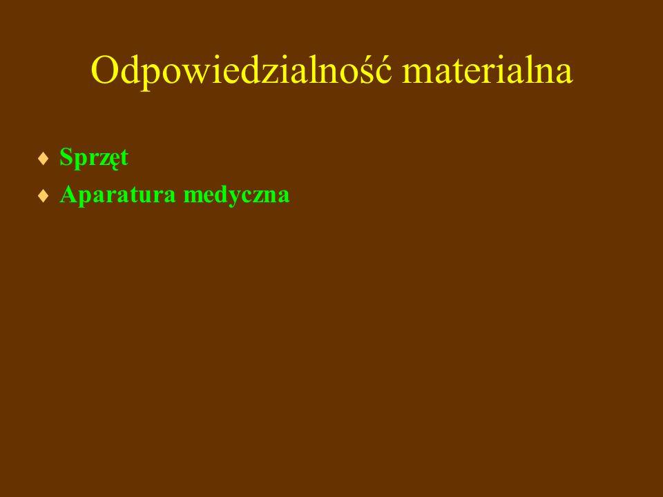 Odpowiedzialność materialna Sprzęt Aparatura medyczna