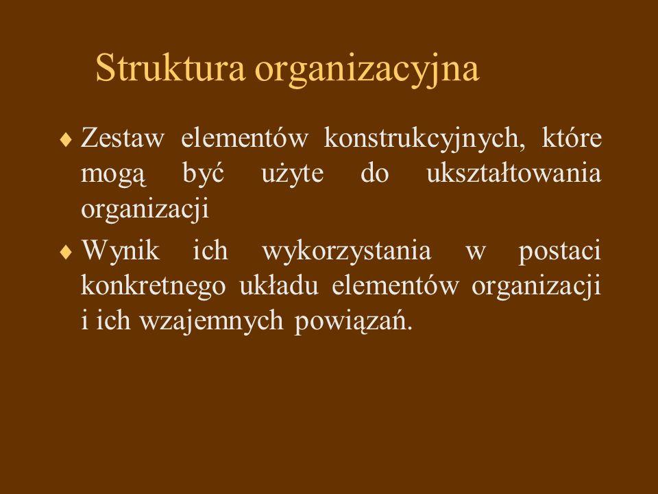 Elementy konstrukcyjne struktury organizacyjnej 1.