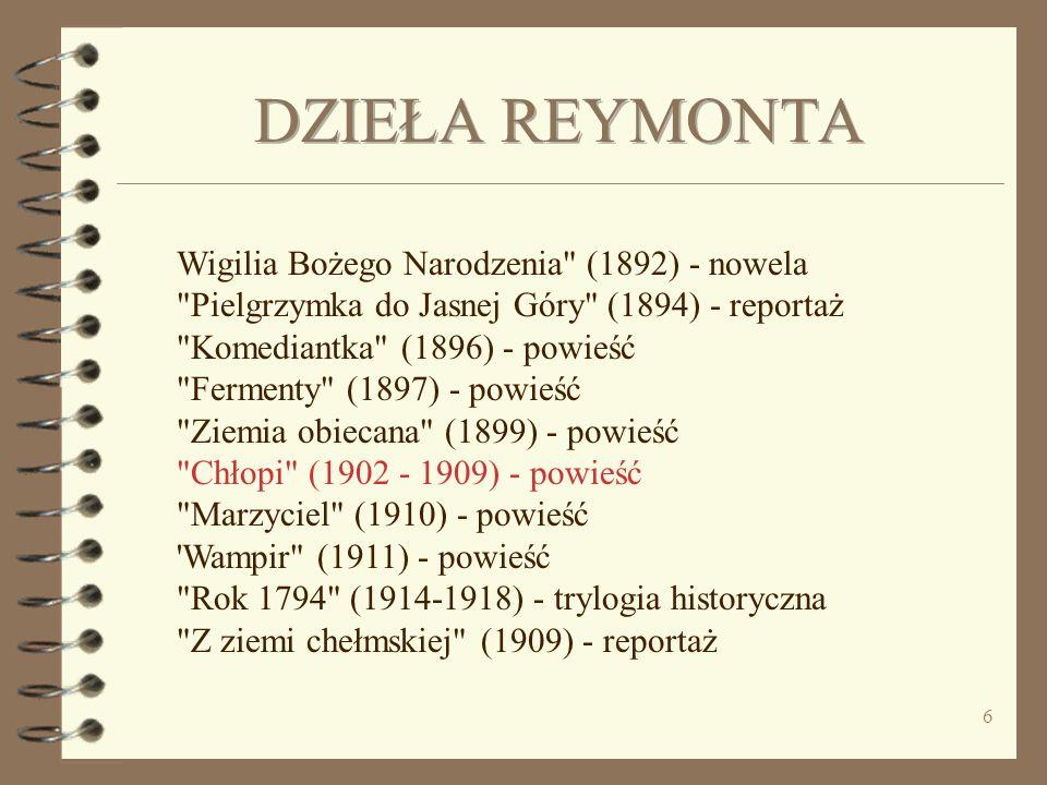 5 W 1924 r. Władysław Reymont wyróżniony został literacką Nagrodą Nobla za wybitny epos narodowy - powieść
