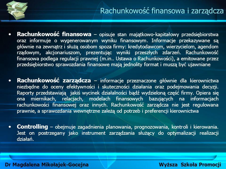 Rachunkowość finansowa – opisuje stan majątkowo-kapitałowy przedsiębiorstwa oraz informuje o wygenerowanym wyniku finansowym. Informacje przekazywane