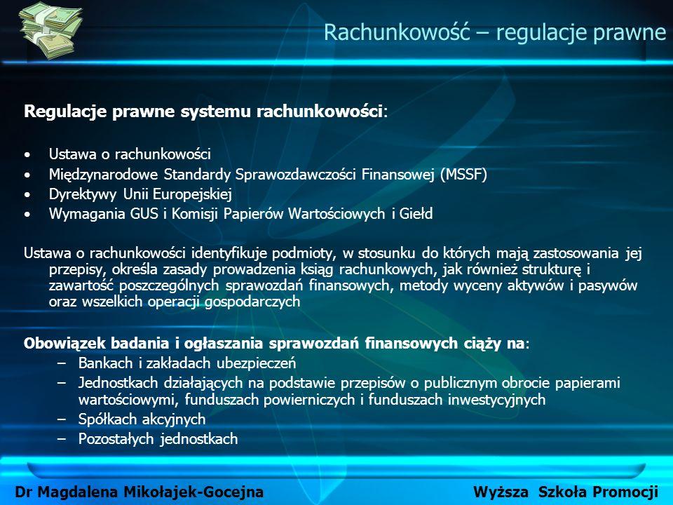 Regulacje prawne systemu rachunkowości: Ustawa o rachunkowości Międzynarodowe Standardy Sprawozdawczości Finansowej (MSSF) Dyrektywy Unii Europejskiej