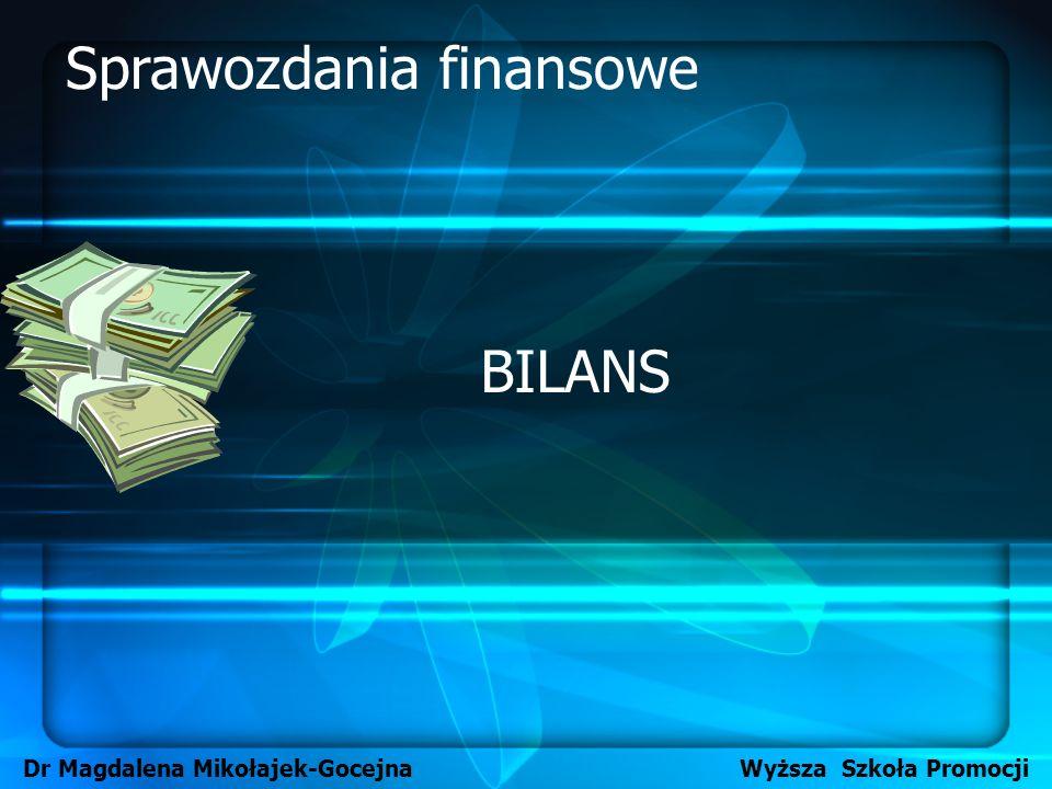 BILANS Dr Magdalena Mikołajek-Gocejna Wyższa Szkoła Promocji Sprawozdania finansowe