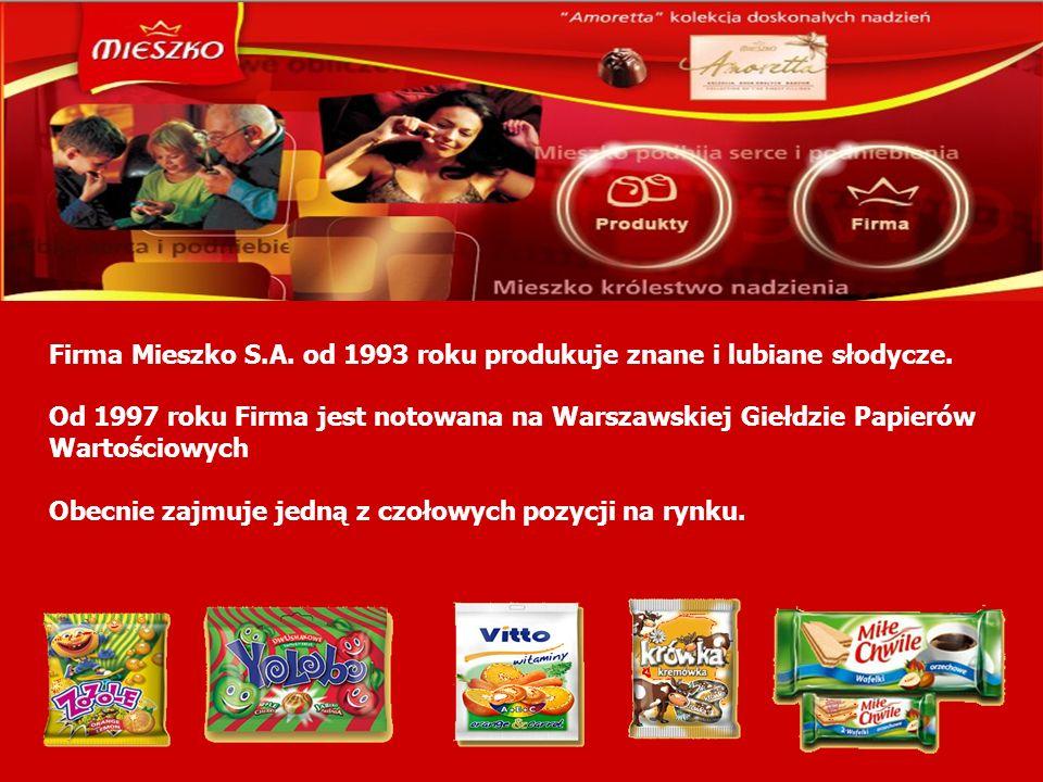 Firma Mieszko S.A. od 1993 roku produkuje znane i lubiane słodycze. Od 1997 roku Firma jest notowana na Warszawskiej Giełdzie Papierów Wartościowych O
