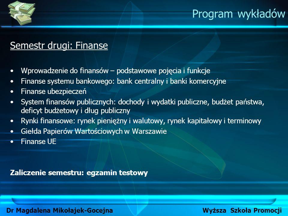 Program wykładów Semestr drugi: Finanse Wprowadzenie do finansów – podstawowe pojęcia i funkcje Finanse systemu bankowego: bank centralny i banki kome