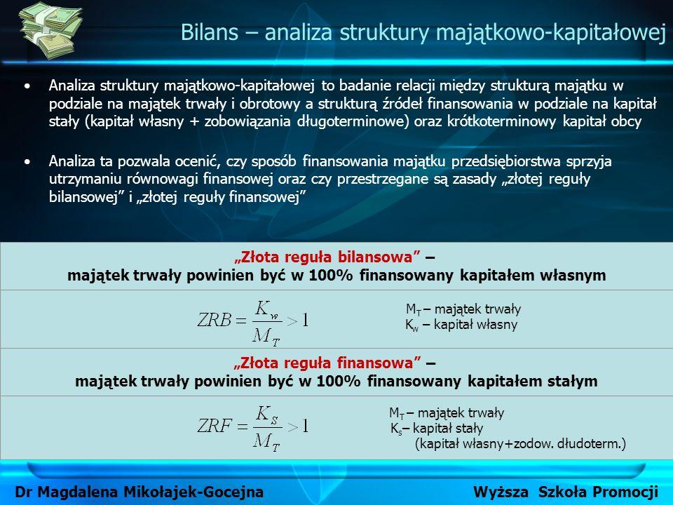 M T – majątek trwały K w – kapitał własny Analiza struktury majątkowo-kapitałowej to badanie relacji między strukturą majątku w podziale na majątek tr
