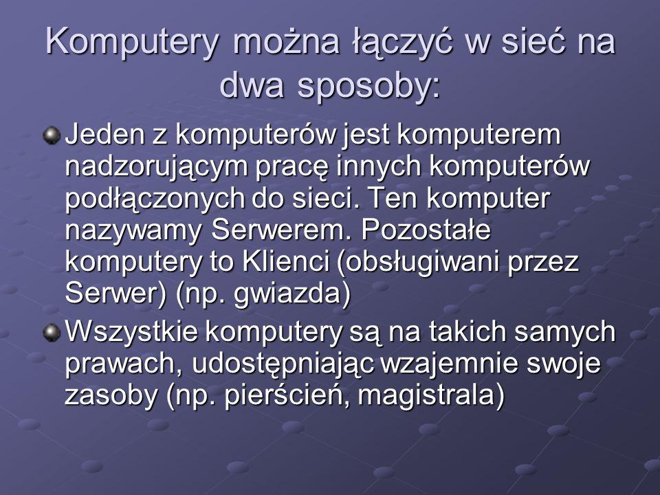 Komputery można łączyć w sieć na dwa sposoby: Jeden z komputerów jest komputerem nadzorującym pracę innych komputerów podłączonych do sieci. Ten kompu
