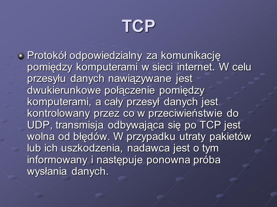 TCP Protokół odpowiedzialny za komunikację pomiędzy komputerami w sieci internet. W celu przesyłu danych nawiązywane jest dwukierunkowe połączenie pom