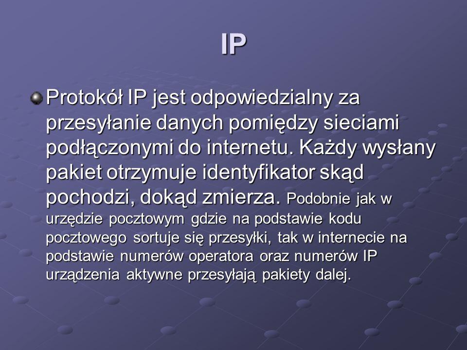 IP Protokół IP jest odpowiedzialny za przesyłanie danych pomiędzy sieciami podłączonymi do internetu. Każdy wysłany pakiet otrzymuje identyfikator ską