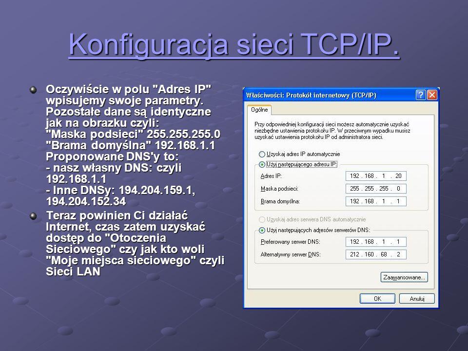 Konfiguracja sieci TCP/IP. Konfiguracja sieci TCP/IP. Oczywiście w polu