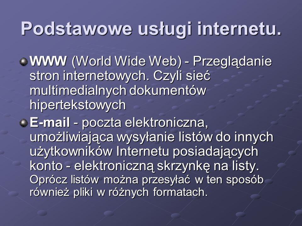 Podstawowe usługi internetu. WWW (World Wide Web) - Przeglądanie stron internetowych. Czyli sieć multimedialnych dokumentów hipertekstowych E-mail - p