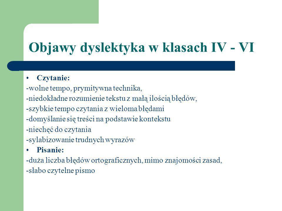 Objawy dyslektyka w klasach IV - VI Czytanie: -wolne tempo, prymitywna technika, -niedokładne rozumienie tekstu z małą ilością błędów, -szybkie tempo