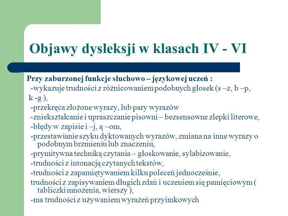 Objawy dysleksji w klasach IV - VI Przy zaburzonej funkcje słuchowo – językowej uczeń : -wykazuje trudności z różnicowaniem podobnych głosek (s –z, b