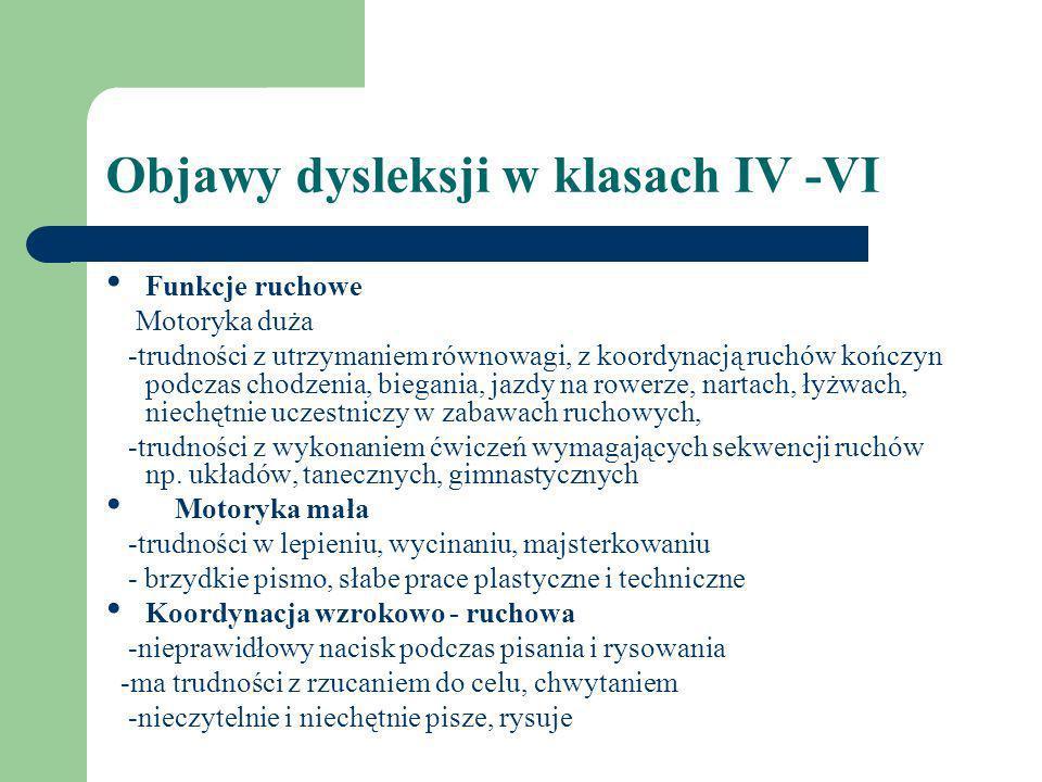 Objawy dysleksji w klasach IV -VI Funkcje ruchowe Motoryka duża -trudności z utrzymaniem równowagi, z koordynacją ruchów kończyn podczas chodzenia, bi