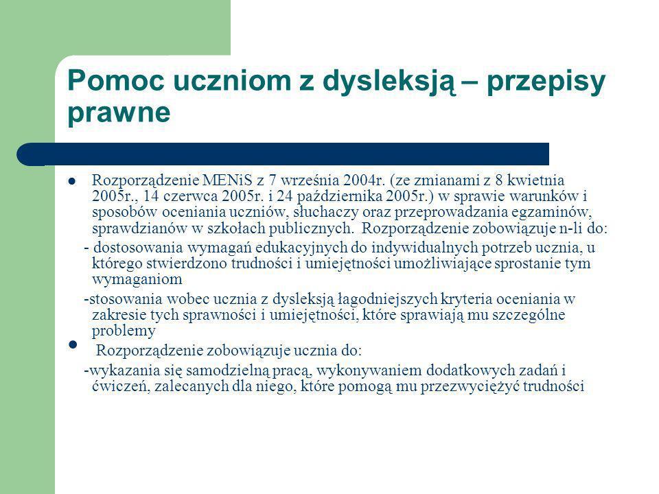Pomoc uczniom z dysleksją – przepisy prawne Rozporządzenie MENiS z 7 września 2004r. (ze zmianami z 8 kwietnia 2005r., 14 czerwca 2005r. i 24 paździer
