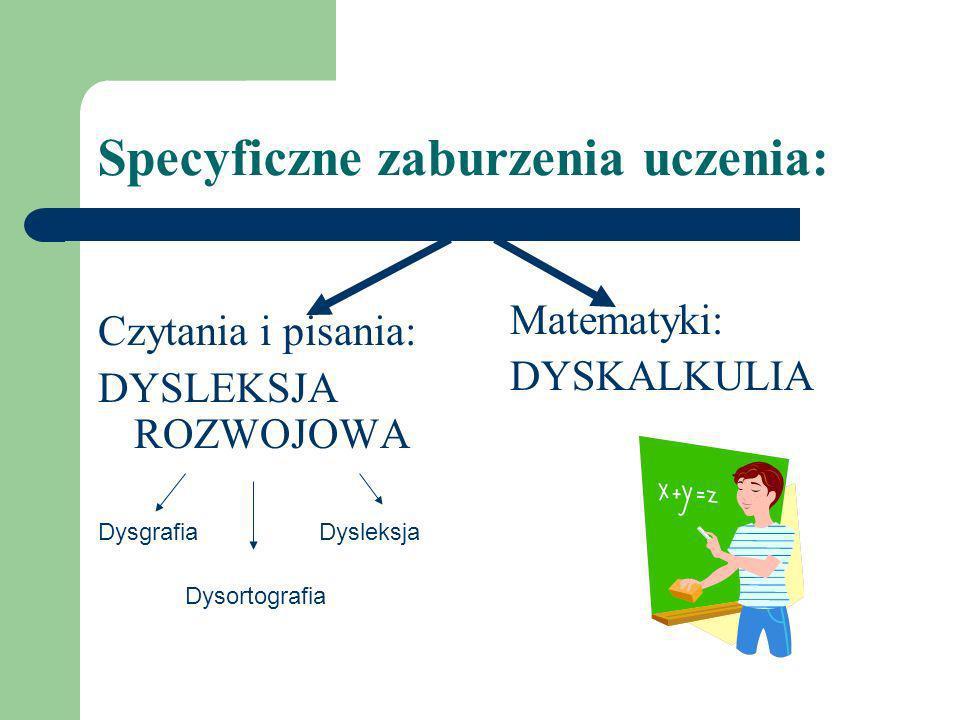 Specyficzne zaburzenia uczenia: Czytania i pisania: DYSLEKSJA ROZWOJOWA Dysgrafia Dysleksja Dysortografia Matematyki: DYSKALKULIA