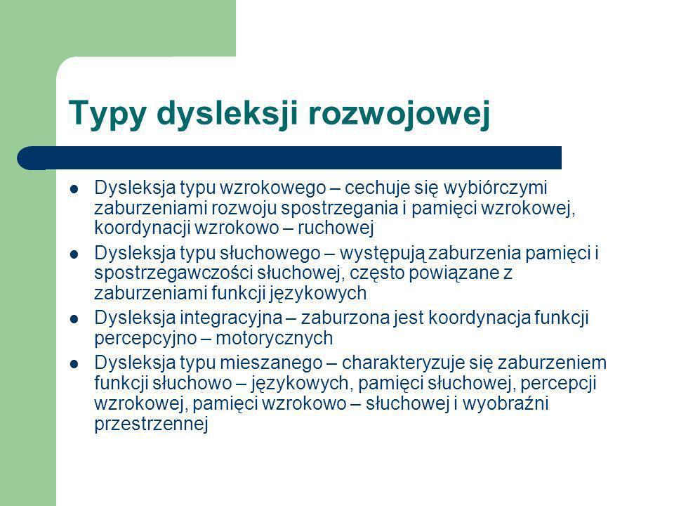 Typy dysleksji rozwojowej Dysleksja typu wzrokowego – cechuje się wybiórczymi zaburzeniami rozwoju spostrzegania i pamięci wzrokowej, koordynacji wzro
