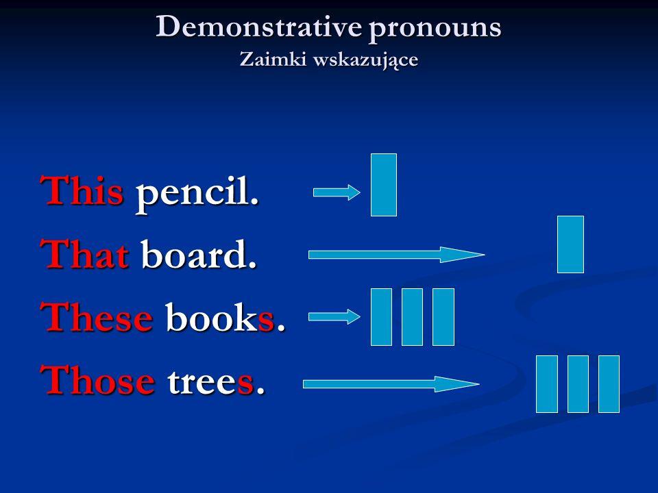 Demonstrative pronouns Zaimki wskazujące This pencil. That board. These books. Those trees.