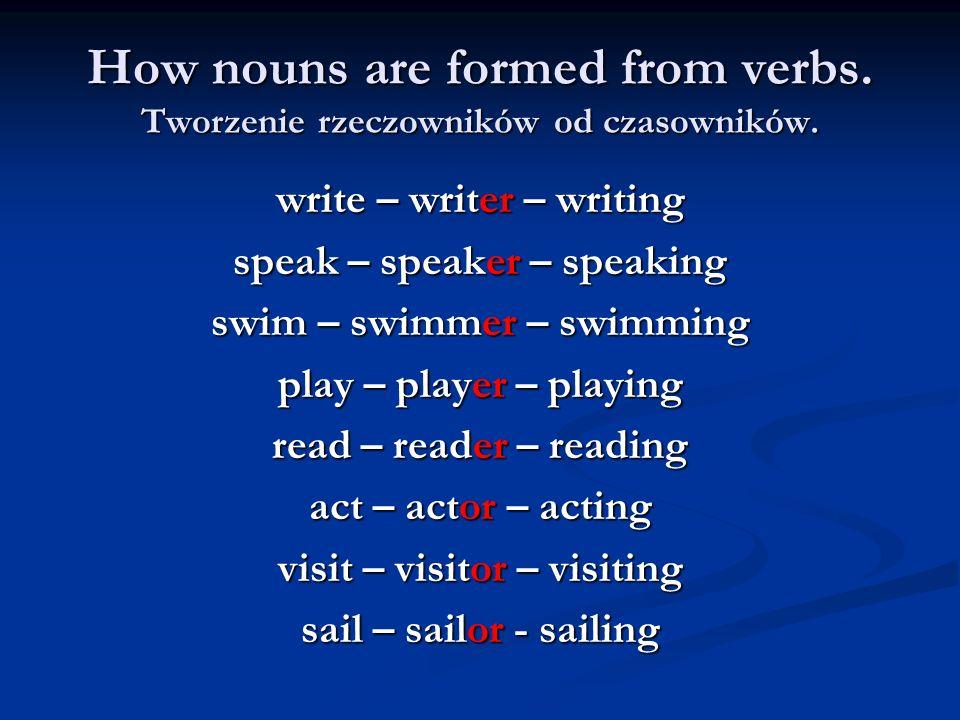 How nouns are formed from verbs. Tworzenie rzeczowników od czasowników. write – writer – writing speak – speaker – speaking swim – swimmer – swimming