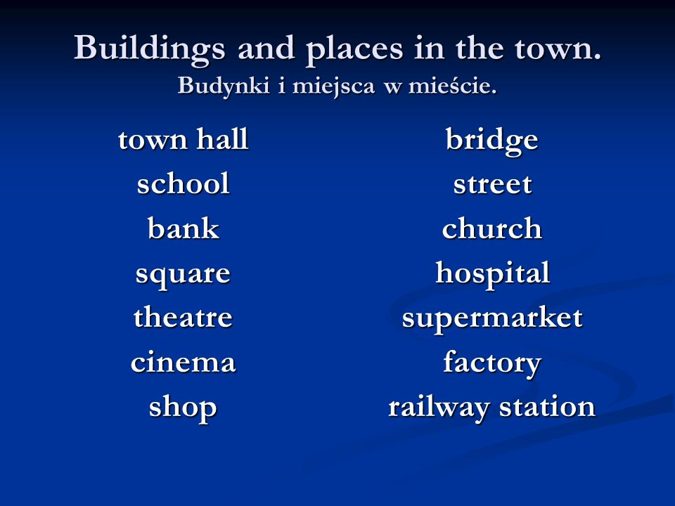 Buildings and places in the town. Budynki i miejsca w mieście. town hall school bank square theatre cinema shop bridge street church hospital supermar
