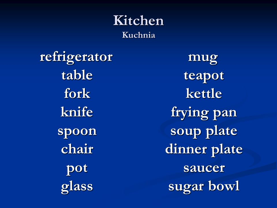 Kitchen Kuchnia refrigerator refrigerator table table fork fork knife knife spoon spoon chair chair pot pot glass glass mug teapot kettle frying pan s