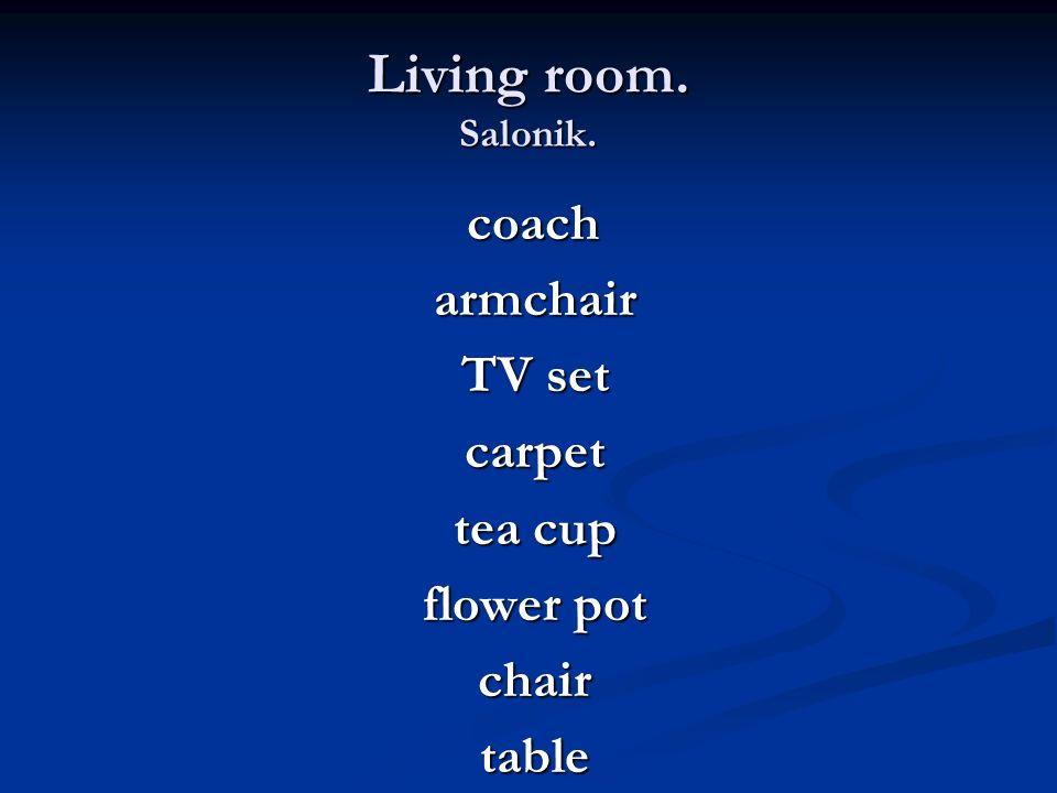Living room. Salonik. coach coach armchair armchair TV set TV set carpet carpet tea cup tea cup flower pot flower pot chair chair table table