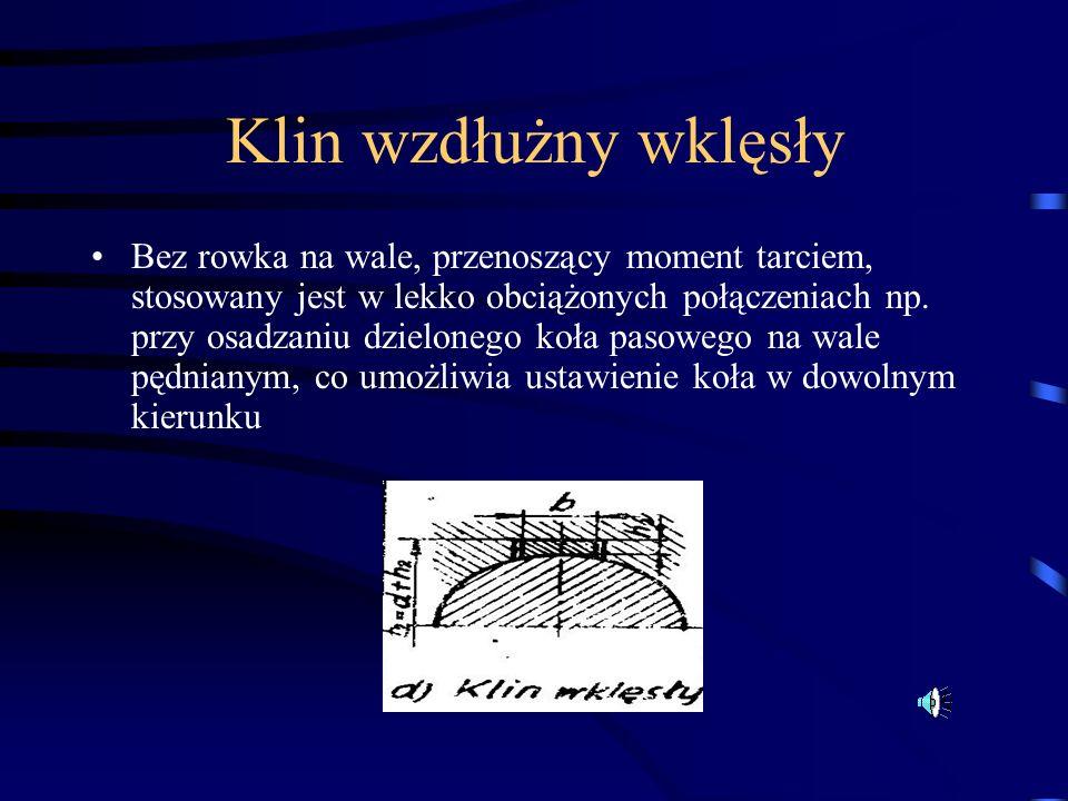 Klin wzdłużny wklęsły Bez rowka na wale, przenoszący moment tarciem, stosowany jest w lekko obciążonych połączeniach np. przy osadzaniu dzielonego koł
