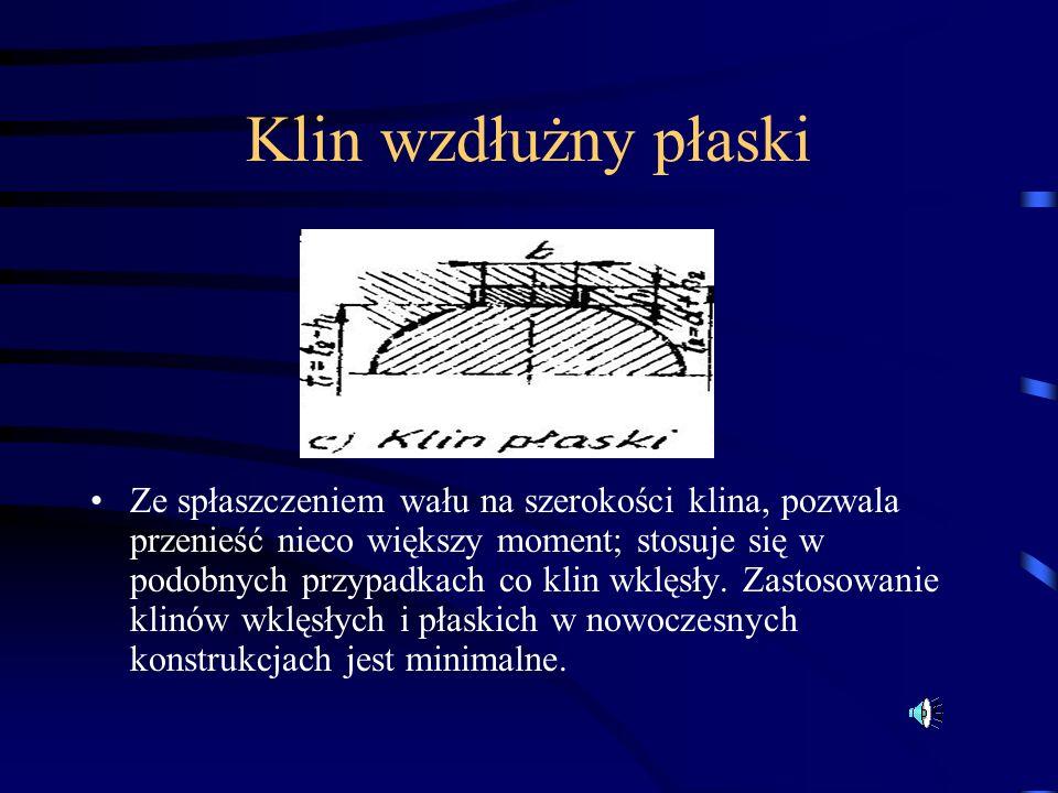 Klin wzdłużny płaski Ze spłaszczeniem wału na szerokości klina, pozwala przenieść nieco większy moment; stosuje się w podobnych przypadkach co klin wk