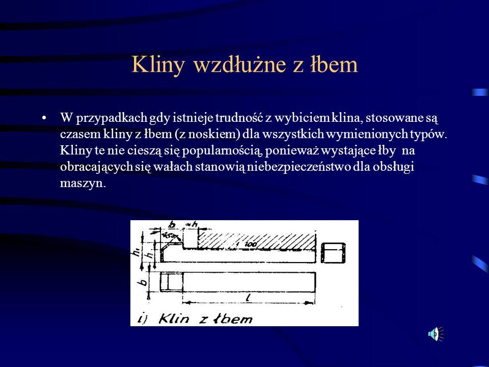 Kliny wzdłużne z łbem W przypadkach gdy istnieje trudność z wybiciem klina, stosowane są czasem kliny z łbem (z noskiem) dla wszystkich wymienionych t