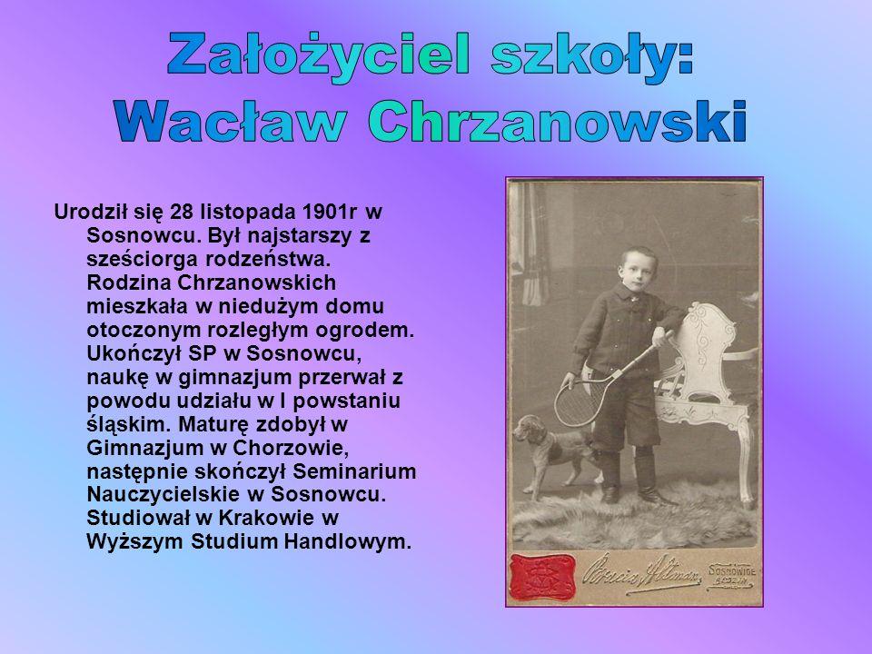 Urodził się 28 listopada 1901r w Sosnowcu. Był najstarszy z sześciorga rodzeństwa. Rodzina Chrzanowskich mieszkała w niedużym domu otoczonym rozległym
