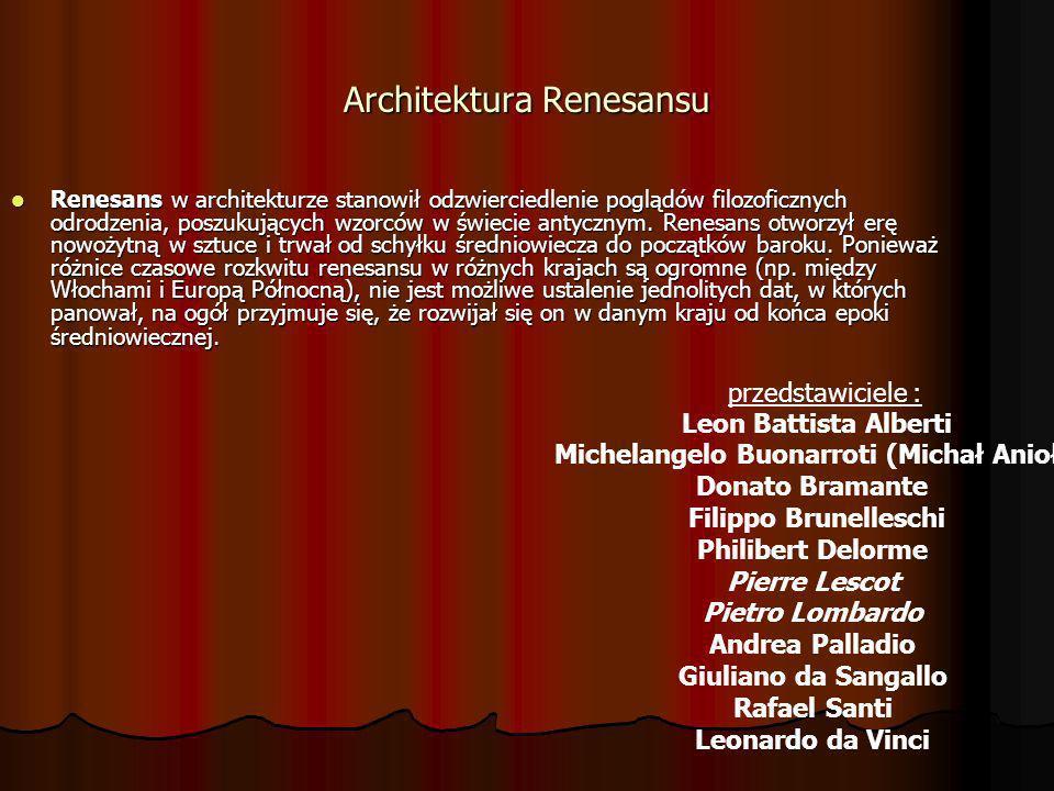 Renesans w architekturze stanowił odzwierciedlenie poglądów filozoficznych odrodzenia, poszukujących wzorców w świecie antycznym. Renesans otworzył er