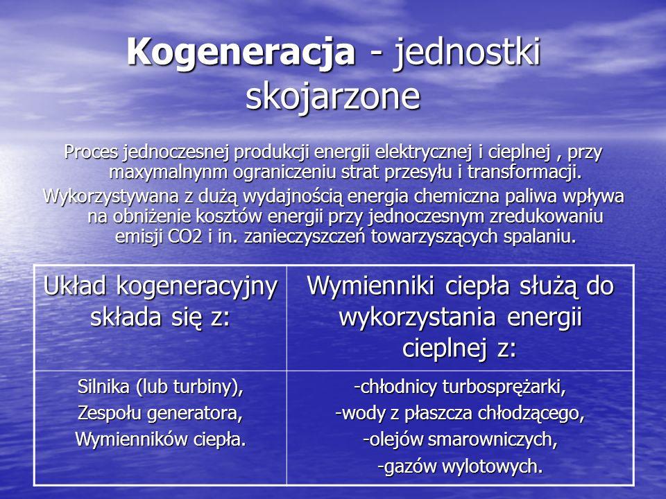 Kogeneracja - jednostki skojarzone Proces jednoczesnej produkcji energii elektrycznej i cieplnej, przy maxymalnynm ograniczeniu strat przesyłu i transformacji.