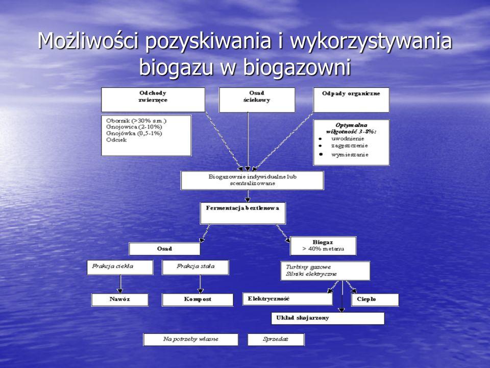 Wydajność produkcji biogazu Substraty [1 tona] Ilość biogazu [m3] Gnojowica bydlęca 25 Gnojowica świńska 36 Serwatka55 Krajanka buraczana 75 Wywar gorzelniany 80 Odpady zielone 110 Odpady biologiczne 120 Kiszonka kukurydzy 200 Tłuszcz800