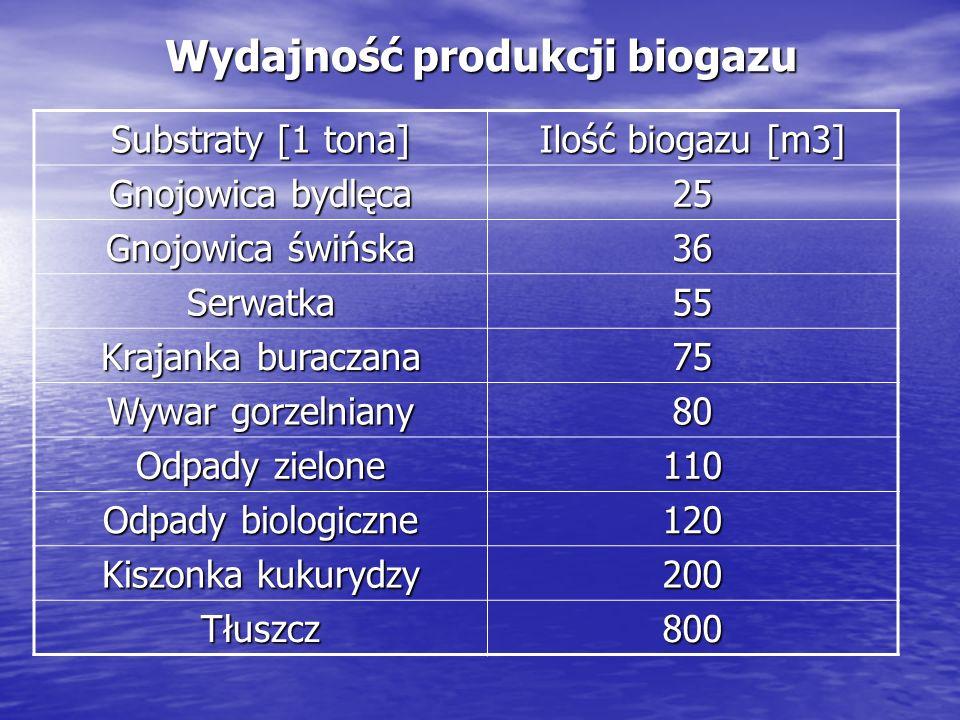 Obecnie funkcjonuje około 20 biogazowni o mocy ok.