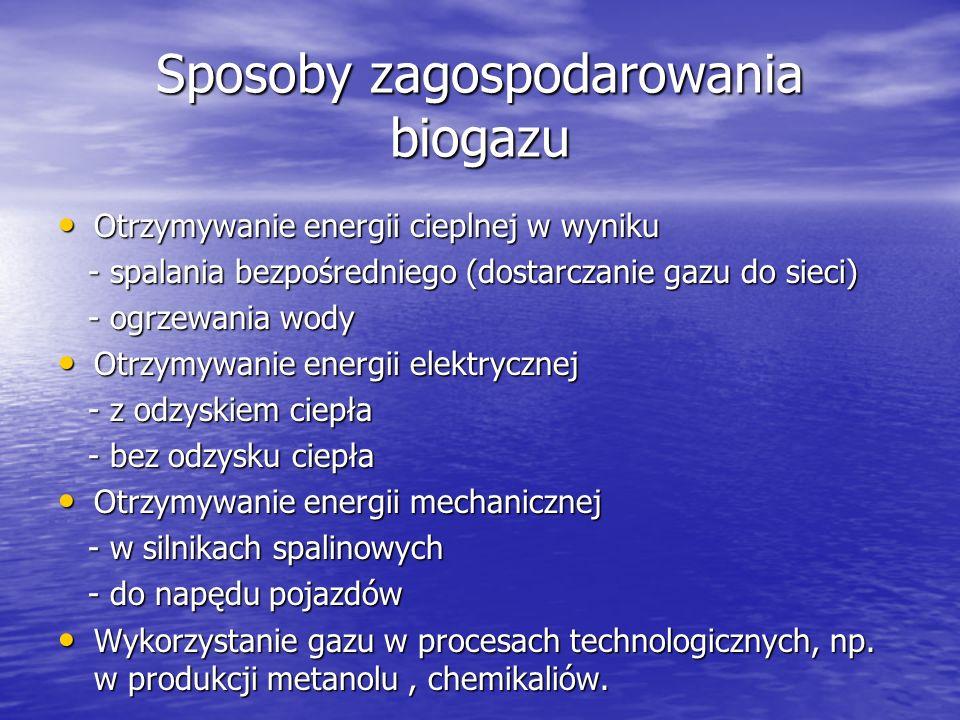 Jedna z pierwszych w Polsce instalacja energetycznego wykorzystania gazu ściekowego w oczyszczalni ścieków powstała w 1998 r.