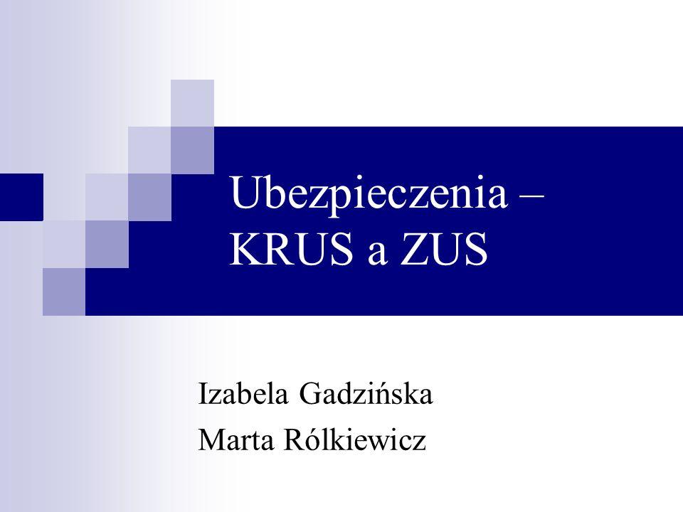 Ubezpieczenia – KRUS a ZUS Izabela Gadzińska Marta Rólkiewicz