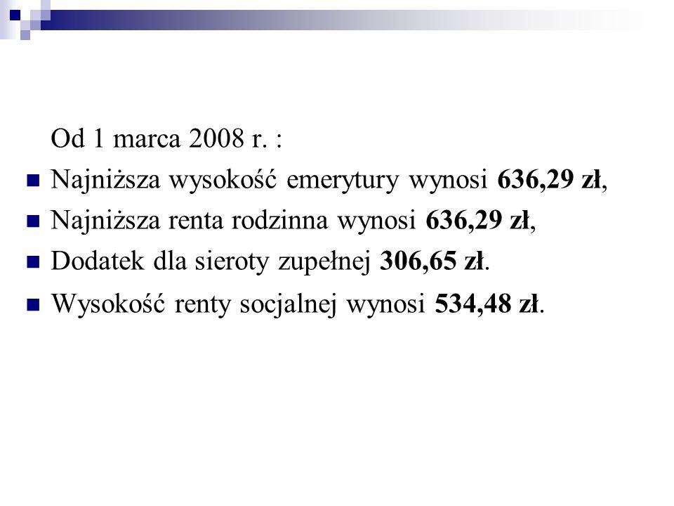 Od 1 marca 2008 r. : Najniższa wysokość emerytury wynosi 636,29 zł, Najniższa renta rodzinna wynosi 636,29 zł, Dodatek dla sieroty zupełnej 306,65 zł.
