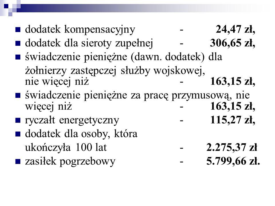 dodatek kompensacyjny - 24,47 zł, dodatek dla sieroty zupełnej - 306,65 zł, świadczenie pieniężne (dawn. dodatek) dla żołnierzy zastępczej służby wojs