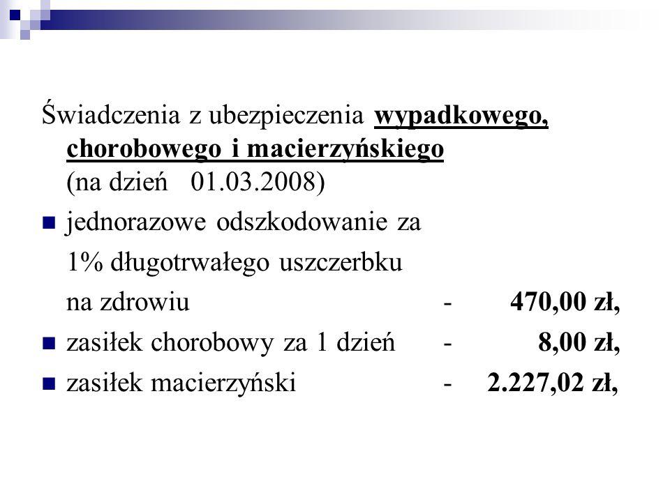 Świadczenia z ubezpieczenia wypadkowego, chorobowego i macierzyńskiego (na dzień 01.03.2008) jednorazowe odszkodowanie za 1% długotrwałego uszczerbku