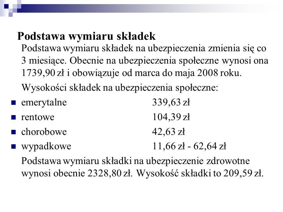 ŚWIADCZENIA Świadczenia z ubezpieczenia emerytalno-rentowego (na dzień 01.03.2008): emerytura i renta podstawowa - 636,29 zł, renta strukturalna- 954,44 zł, dodatek pielęgnacyjny - 163,15 zł, dodatek pielęgnacyjny dla inwalidy wojennego - 244,73 zł, dodatek kombatancki - 163,15 zł, dodatek z tytułu tajnego nauczania - 163,15 zł,