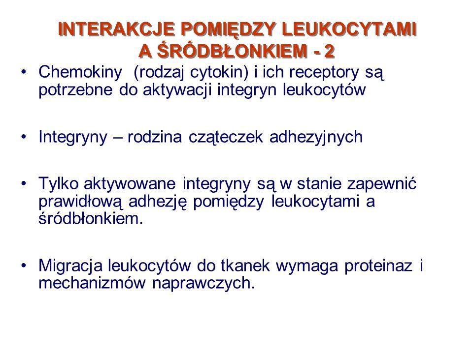 INTERAKCJE POMIĘDZY LEUKOCYTAMI A ŚRÓDBŁONKIEM - 2 Chemokiny (rodzaj cytokin) i ich receptory są potrzebne do aktywacji integryn leukocytów Integryny